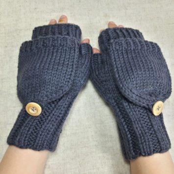 Handschuhe mit Kappe Schiefer, Biowolle